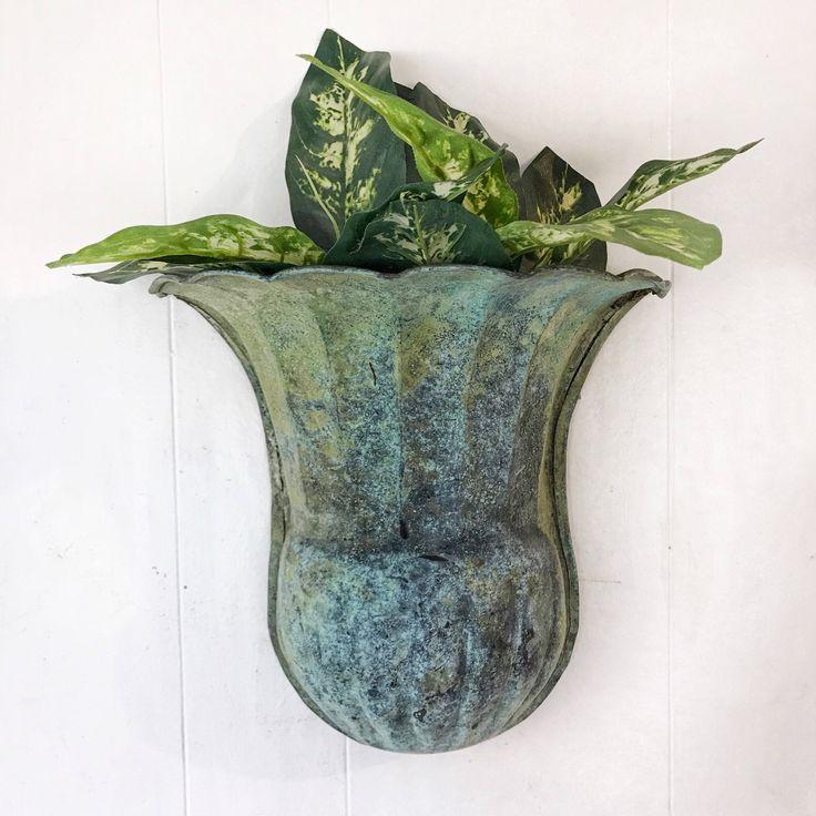 vintage wall planter - large metal wall pocket - verde green patina - boho shabby cottage