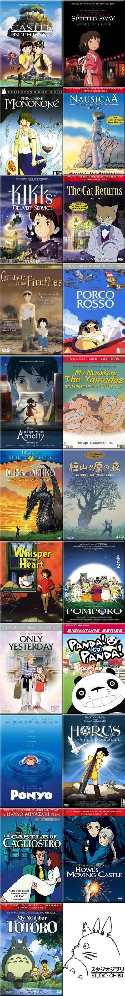 Studio Ghibli. Laputa: Castle in the Sky, Spirited Away, Princess Mononoke, Nausicaa of the Valley of the Wind, Kiki's Delivery Service, The Cat Returns, Grave of the Fireflies, Porco Rosso, The Secret World of Arrietty, My Neighbors the Yamadas, Tales from Earthsea, Night of Taneyamagahara, Whisper of the Heart, Pom Poko, Only Yesterday, Panda! Go Panda!, Ponyo on the Cliff by the sea, Horus: Prince of the Sun, Lupin III: Castle of Cagliostro, Howl's Moving Castle, My Neighbor Totoro.