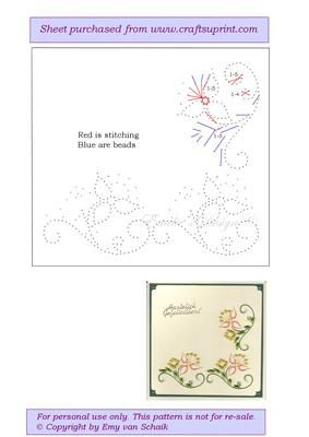 ED044 flowers on Craftsuprint designed by Emy van Schaik - Stitching with beads - Now available for download!