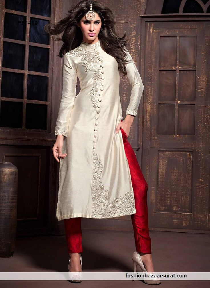 Cream N Red Embroidered Straight Salwar Suit