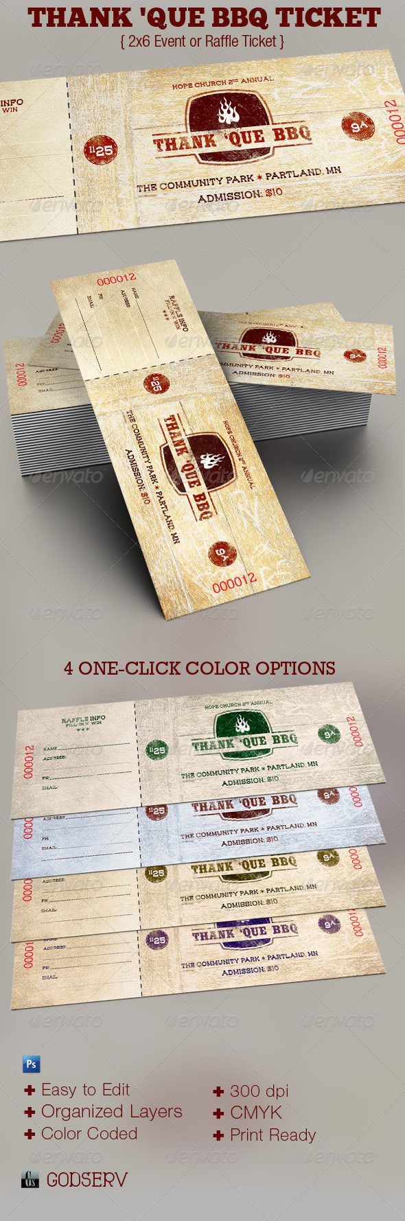 Thank U0027Que Western BBQ Charity Ticket Template   Miscellaneous Print  Templates  How To Make Tickets For A Fundraiser