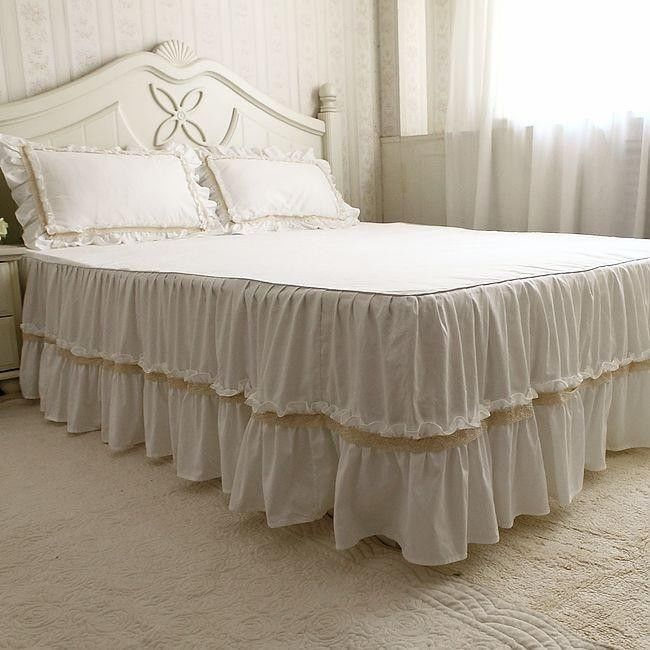 Beautiful White Lace Ruffle Bed Skirt Bedskirt,Koean Luxury White Bed Skirts #FADFAY #Modern