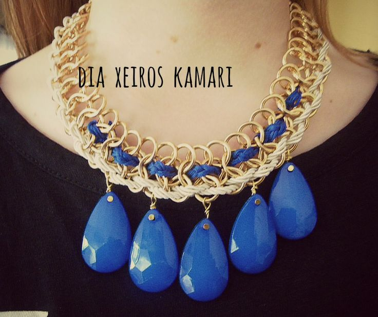 #necklace #handmade #navy #blue #xhite #Greece #summer #statement #chic