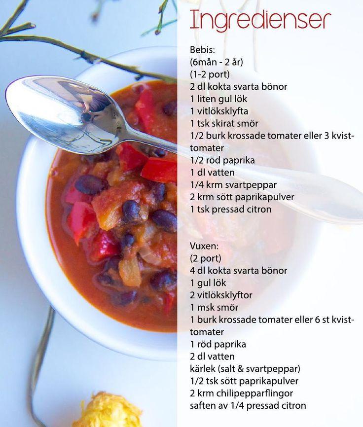 Ekologiskt recept på novembersoppa med tomat, paprika och svarta bönor För barn, bebis, hela familjen
