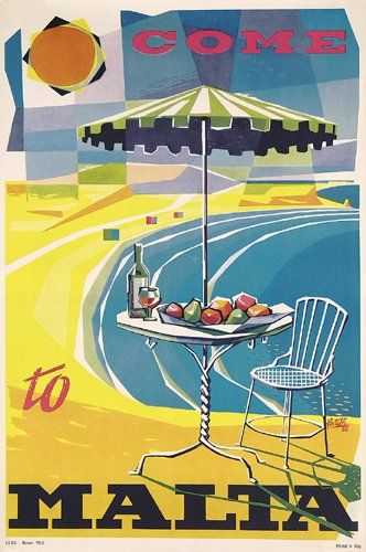 Vintage Travel Poster - Come to Malta - 1956.