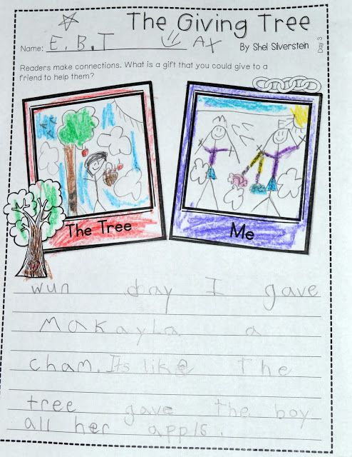 Giving Tree lesson plans perfect for Earth Day. This week we read The Giving Tree by Shel Silverstein. Students made connections and wrote opinions with the text.