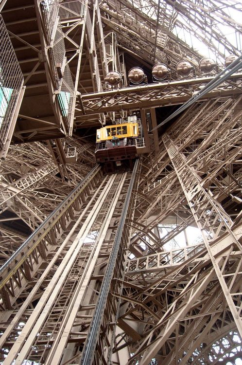 The lift at the Tour Eiffel  ~Repinned Via Tyler Latimer