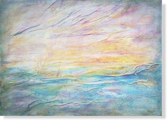 Sunset Painting Ocean See Landscape Waves Painting by AnnaKisArt #sunsetpainting, #oceanpainting, #sealandscape, #sunshinepainting, #wavespainting, #abstractlandscape, #homedecor, #walldecor, #wallart, #leatherart, #leatherpainting
