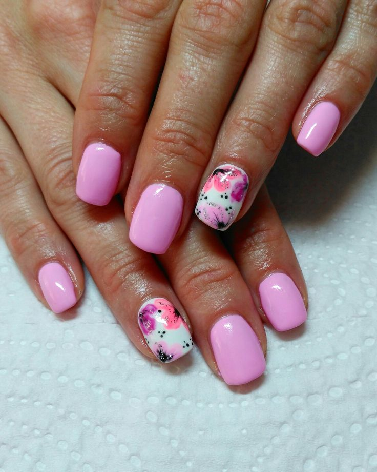 Pink, flowers, nails