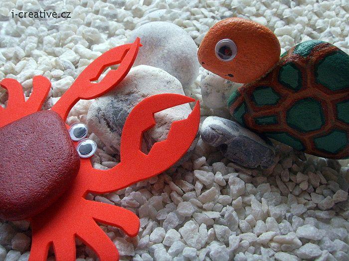Návod na výrobu kraba a želvy z kamenů