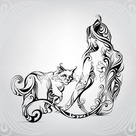 Скачать - Силуэт девушка кошка с черная кошка — стоковая иллюстрация #95830276