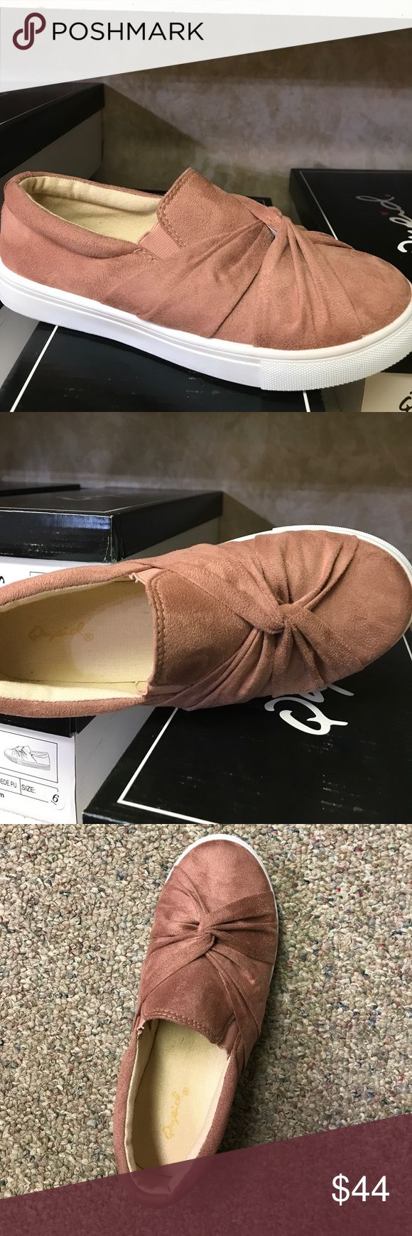 Tennis shoes NEW Mauve Suede slip on Tennis shoes Qupid Shoes Sneakers