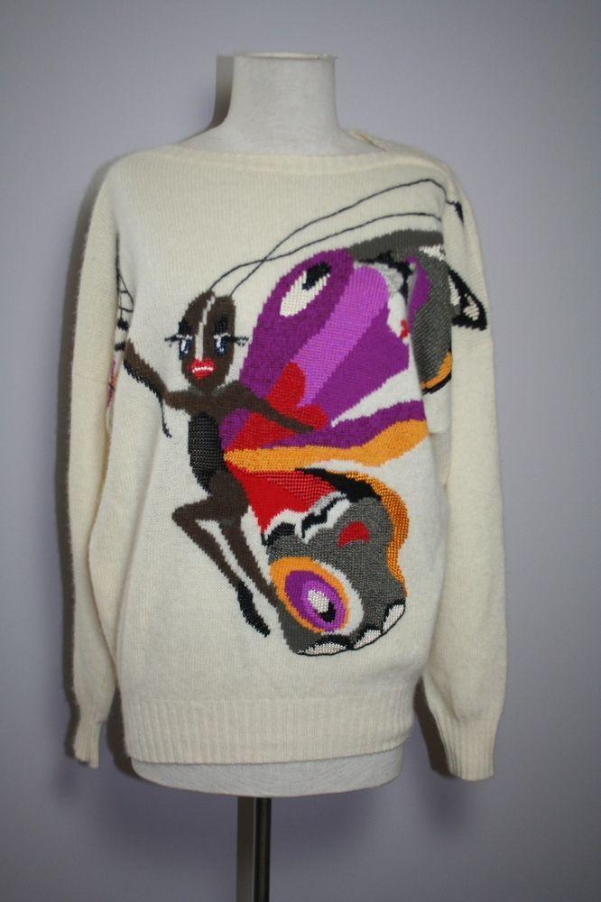 Vintage Krizia Maglia Graphic Butterfly Intarsia Angora Blend Sweater #Krizia #Sweater