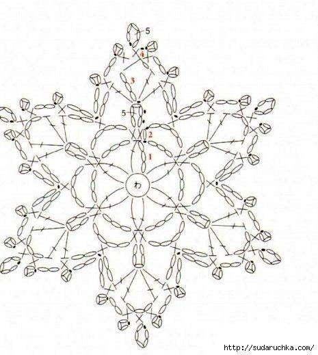 Снежинки - вязание крючком. Схемы.: