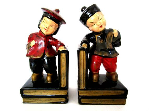 Bookends Asian Bookends Man and Woman Asian Decor Red Black