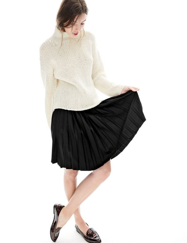 J.Crew women's Collection handknit turtleneck sweater, drop-waist pleated skirt and Collins tortoise loafers.: