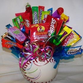 Baseball Candy Bouquet. Another for you @Lori Bearden Bearden Bearden Merritt!