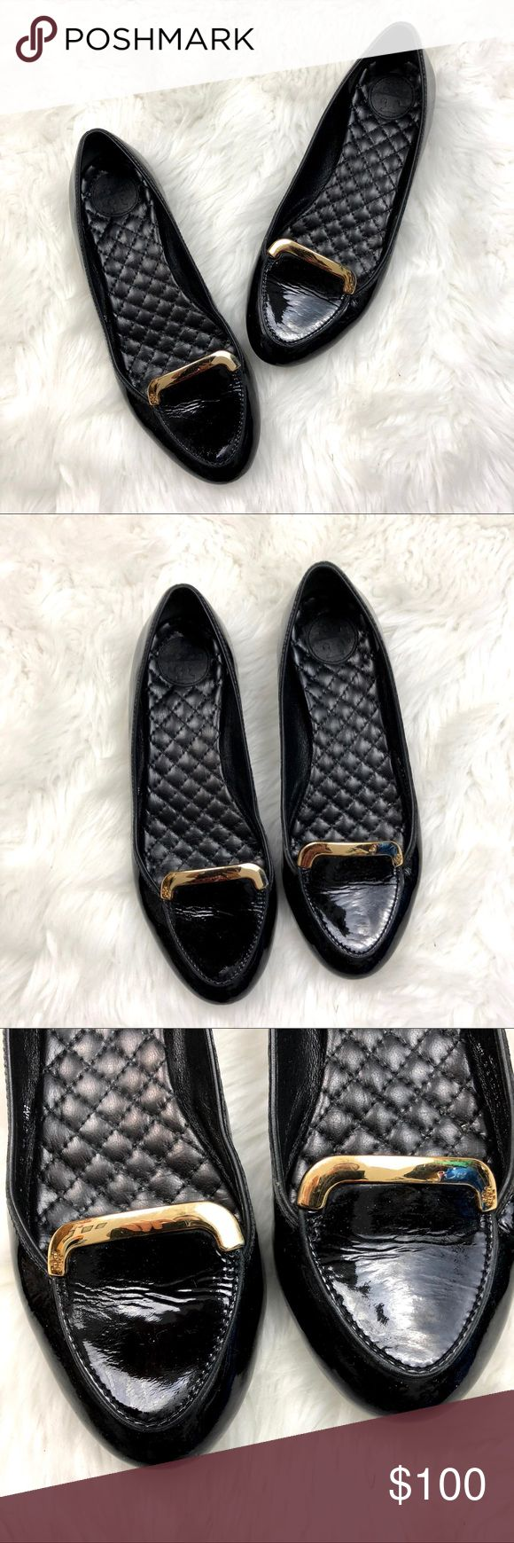 🍀Tory Burch Black Leather Slip-on Loafer Flats Tory Burch 5.5 Womens Black Leather Slip-on Loafer Flats  This has been worn a few times.  Most wear at the sole. Please refer to photos for more details. Tory Burch Shoes Flats & Loafers