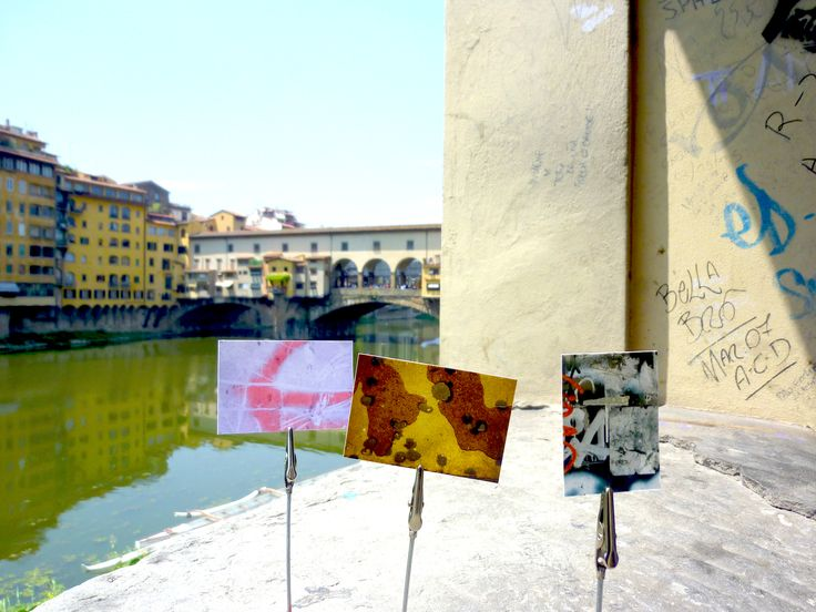 """SAME GRIT. When I get down to the """"grit"""" of any city, I find it holds more in common with every other city than it does differentiation. Spills, graffiti, scrapes, tape… we're one big ant hill. Showcasing minis from my A CLOSER NY collection before the Ponte Vecchio in Florence. #travel #oneness"""