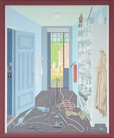 Leonard Rickhard <em>Dørgløtt med to figurer i sommerlyset, II</em><br />olje på lerret, 276x222 cm