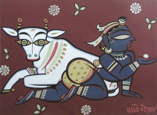 Jamini Roy. Krishna I like the composition and sense of movement in this piece.