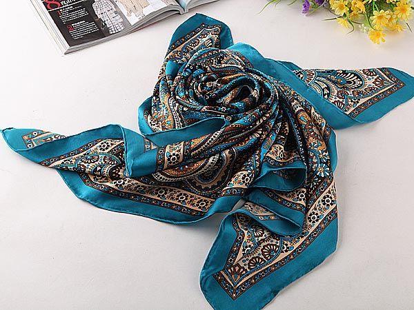 "Extra Large Square Silk Scarf 43x43"" (110x110cm) Paisley Pattern Blue PAS002"