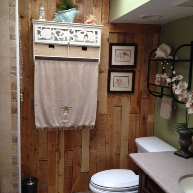 Bathroom Wall Makeover From Pallets Pallet Bathroom