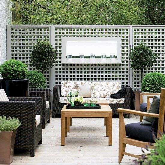 Seating and grey trellis