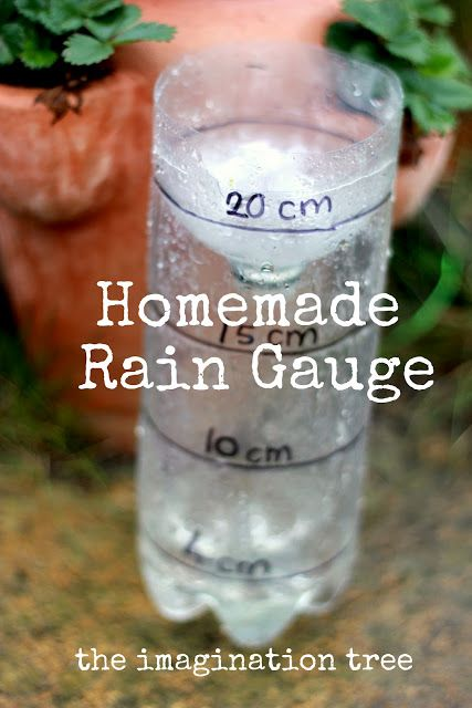 Homemade Rain Gauge by The Imagination Tree | Here's how to make a really simple rain gauge using recycled materials for some rainy day fun! There are plenty of opportunities for learning about measuring, number recognition, capacity, and weather along the way, too!