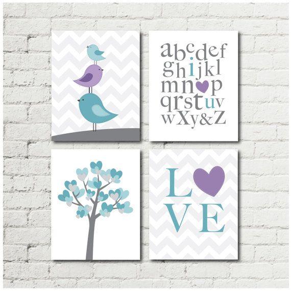 Purple and Teal Girl Nursery Bird Nursery Decor by RabeyCreative