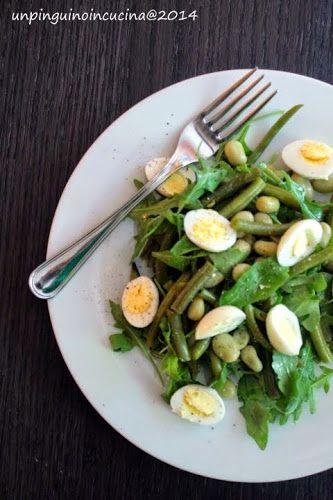 Un pinguino in cucina: Insalata di fagiolini e fave con uova di quaglia - Green Bean, Broadbean and Quail Egg Salad