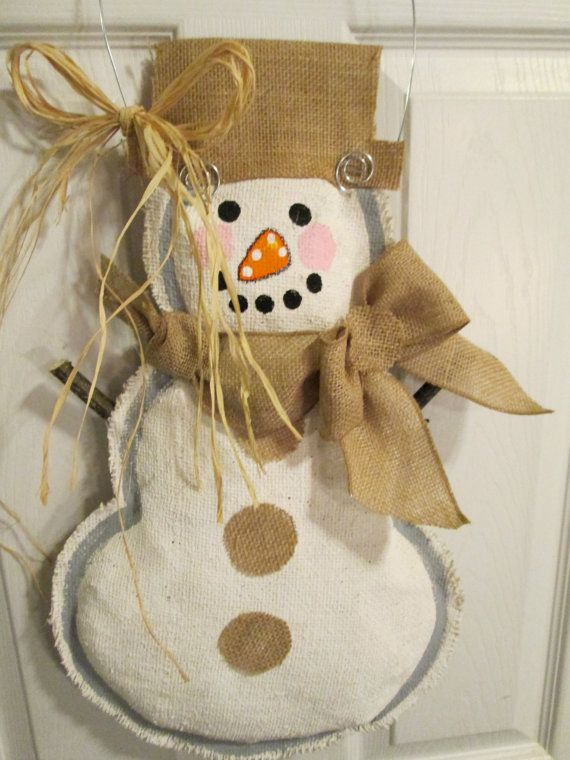 1000 images about burlap door hangers on pinterest for Snowman made out of burlap