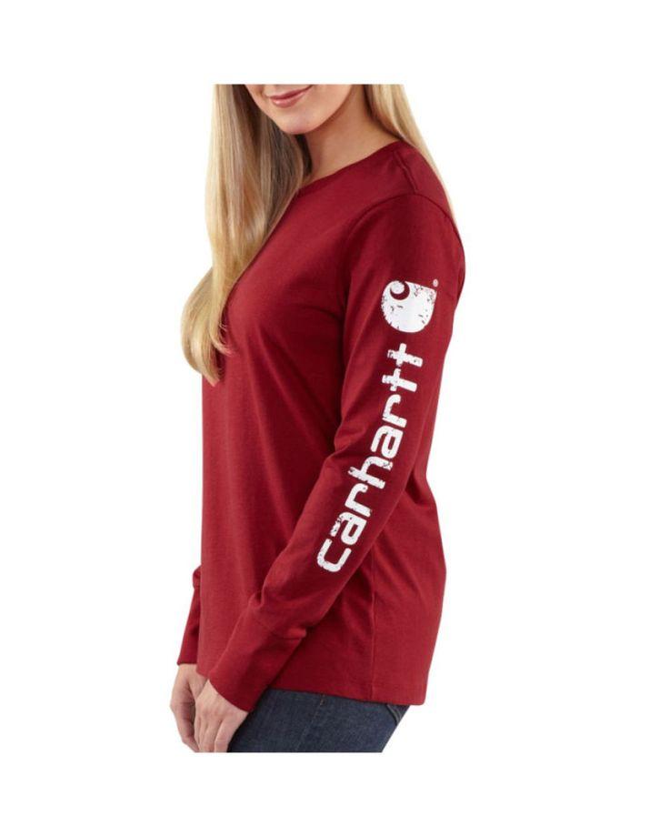 I NEED this!!!! <3 Carhartt Women's Distressed Sleeve Logo Long-Sleeve Crewneck T-Shirt