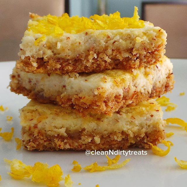 Lemon Protein Bars Crust:  -1/2 scoop About Time Vanilla Whey Isolate protein  -3/4c almond flour  -1/4c coconut flour  -1/3c stevia  -1/4 tsp salt  -1/3c liquid coconut oil Lemon Topping:  -2 eggs  -2 egg whites  -1/2c lemon juice  -4 tsp NuNaturals NuStevia NoCarb Blend  -1/2 tsp baking powder   -1/4 tsp salt  -1 tbsp unsweetened cashew milk  – lemon zest, opt.