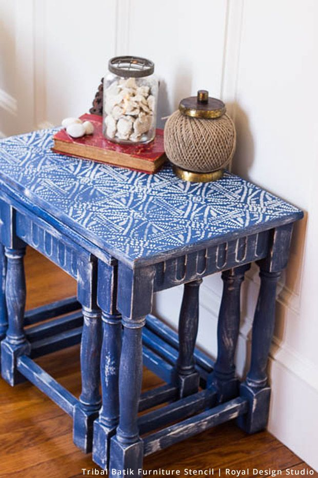 Nesting Tables Made Modern and Bohemian Chic with Furniture Stencils   Tribal Batik Stencil by Royal Design Studio and Chalk Paint