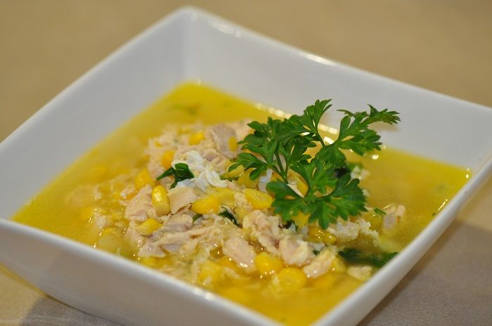 http://www.inspiringhabits.com.au/     Chicken and Sweetcorn Soup. This soup is an experience. Enjoy the aromatic and tantalising combination of ingredients as the soup simmers gently in your kitchen. Enjoy the wonderful balance of flavours and textures as you enjoy each spoonful. Enjoy the feeling of warmth and comfort as you take delight in your meal. This soup is guaranteed to make you feel good.