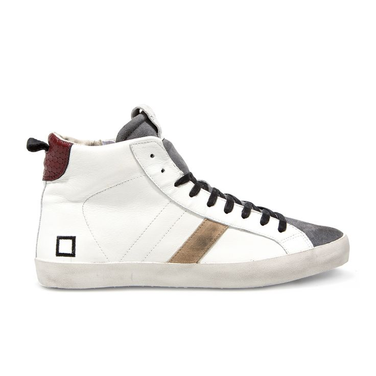 D.A.T.E. Fall Winter 2015-16 // Hill High Nappa White-Grey.  Shop at:http://bit.ly/1KCAEfd #datesneakers