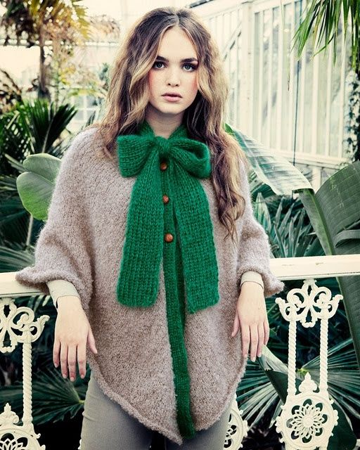 Ribbons, knit, functional, weather, fall, poncho, edge