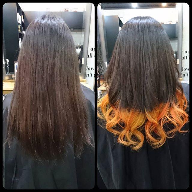 Routy Salon Instagram 毛先25cmだけの原色 オレンジと