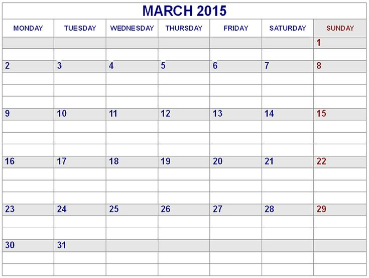 Best Collection of March 2015 Calendar Landscape. Cute March 2015 Calendar With Holidays Canada, UK, USA and Printable Pdf, Template, Design, Word, Excel, Doc.