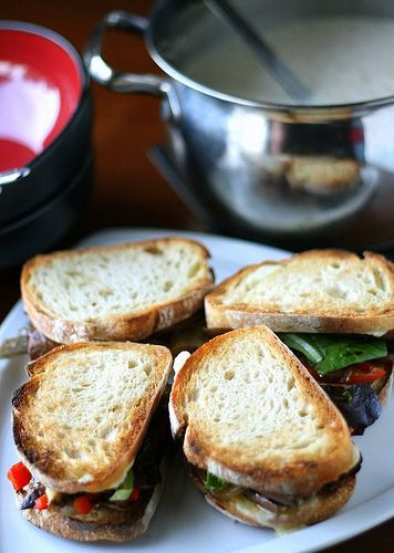 Eggplant Sandwiches with Fontina and Caramelized Onions