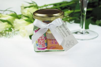 WEDDING FAVOUR MINI GLASS SWEET JARS, personalised wedding favours, wedding favour sweets, unusual wedding favours, wedding favour, favours for weddings, retro sweets