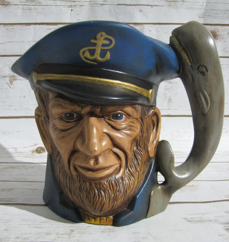 Pitcher Vintage Toby-esque  Planter Sea Captain Ahab Moby Dick~ Bearded Captain Large Mug ~ Ceramic Pitcher Planter~Fishing Cabin Decor~ by VintageeThings on Etsy