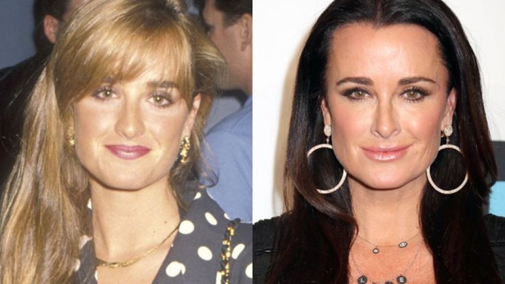 Kyle Richards, not too much done to her face, tweaked her nose, botox on forehead, boobs and not much else ...
