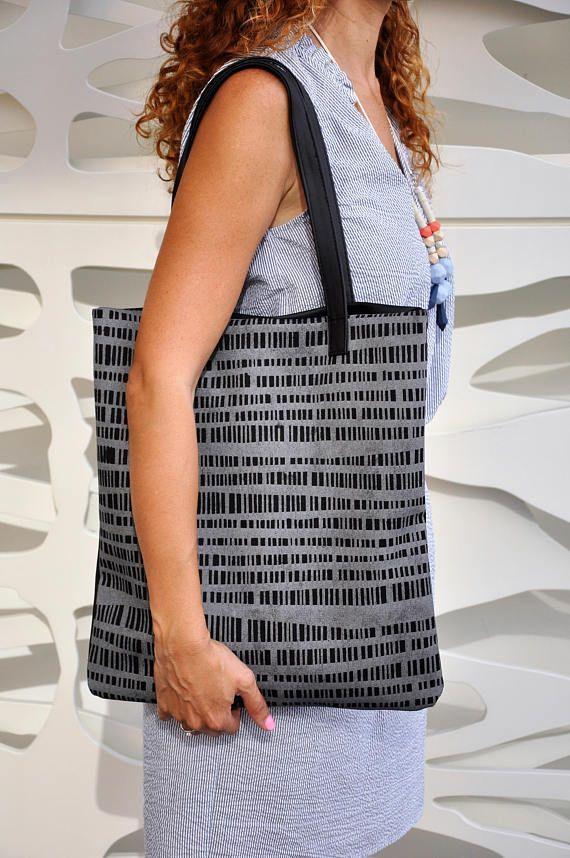 Leather tote bag, Vegan bag, Large everyday casual tote bag, Black shoulder bag, Silver handbag, Everyday bag, Grey handbag, Grey tote bag