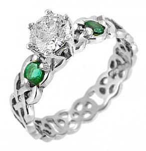 14K White Gold Diamond & Emerald Irish Celtic Knot Engagement Ring. #Proposal #Engagement #Ring