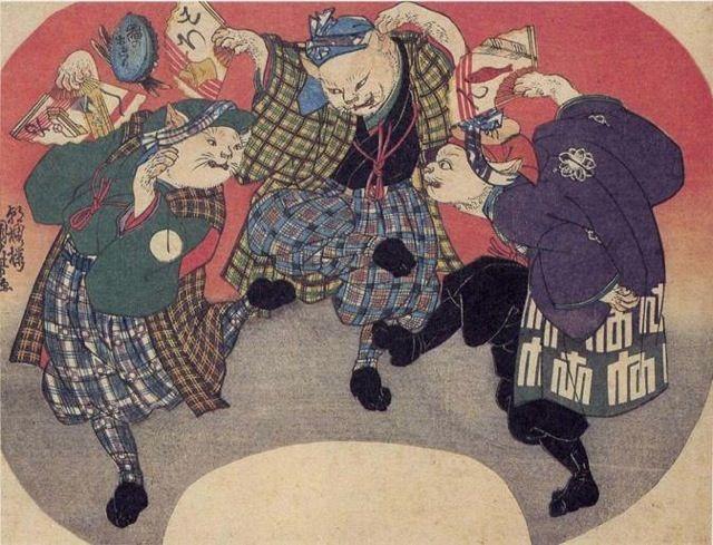 <猫のおどり : NEKO NO ODORI> CATS DANCING KUNIYOSHI UTAGAWA 1798-1861 Last of Edo Period