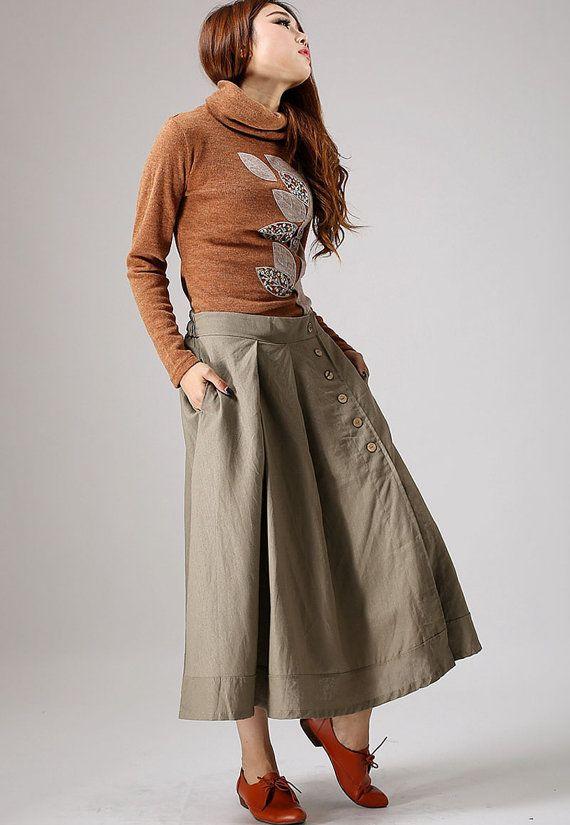 Khaki skirt woman Maxi linen skirt with button detail от xiaolizi