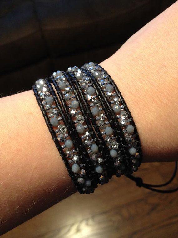 Grey/Silver on Black Leather Wrap Bracelet by AmberRayneDesigns