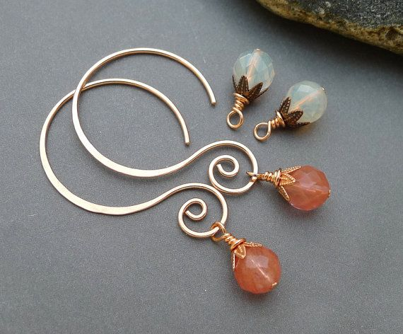 Copper Interchangeable Earrings with Cherry and by ChainFlower